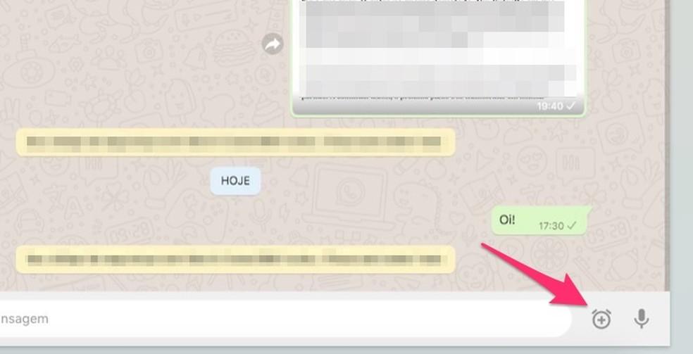 Ação para acessar o recurso para agendar mensagens no WhatsApp Web com a extensão Blueticks para Chrome — Foto: Reprodução/Marvin Costa