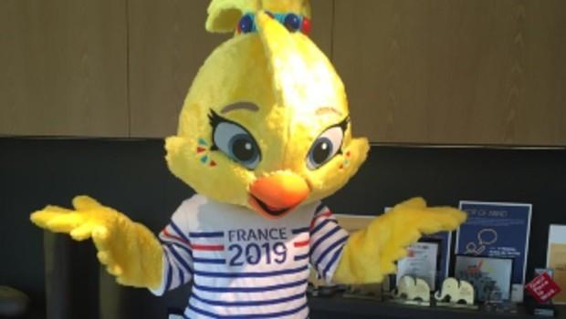 A mascote da Copa do Mundo Ettie, em visita ao escritório da Visa no Brasil (Foto: Divugação)