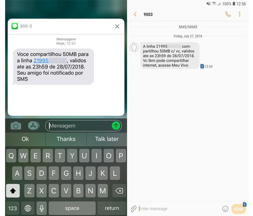 Meu Vivo enviará um SMS com a confirmação da transação (Foto: Reprodução/Wallace Nascimento)
