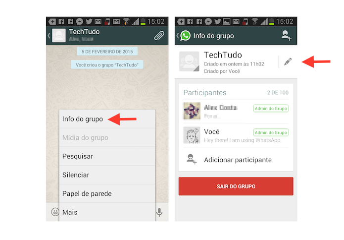 Acessando as configura??es de um grupo do WhatsApp (Foto: Reprodu??o/Marvin Costa)