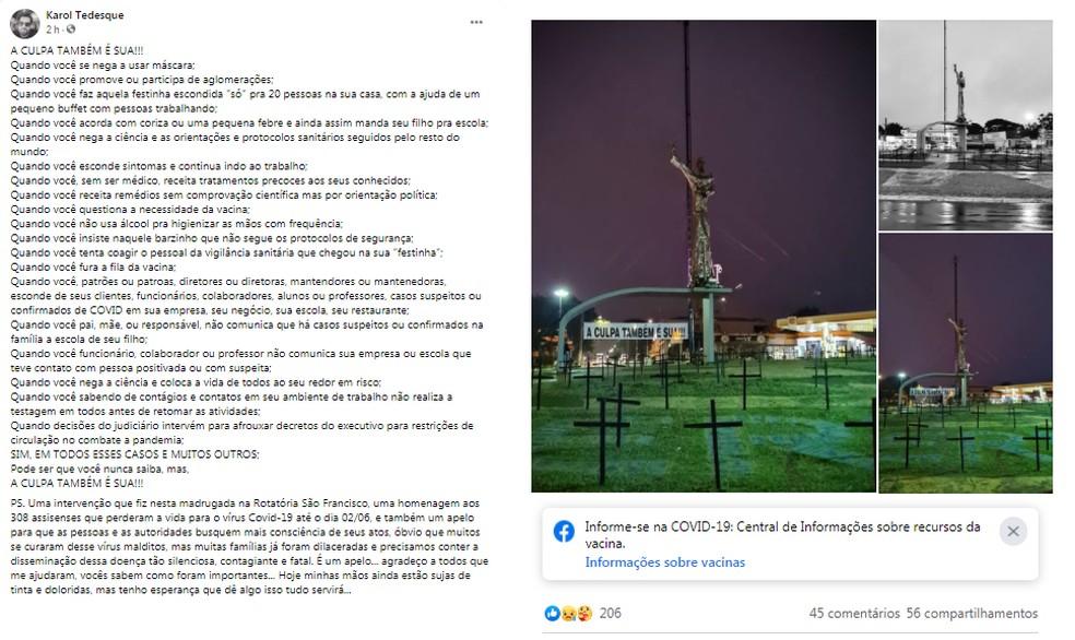 Advogado de Assis (SP) faz intervenção da cidade em homenagem às vítimas da Covid-19 na cidade — Foto: Redes Sociais