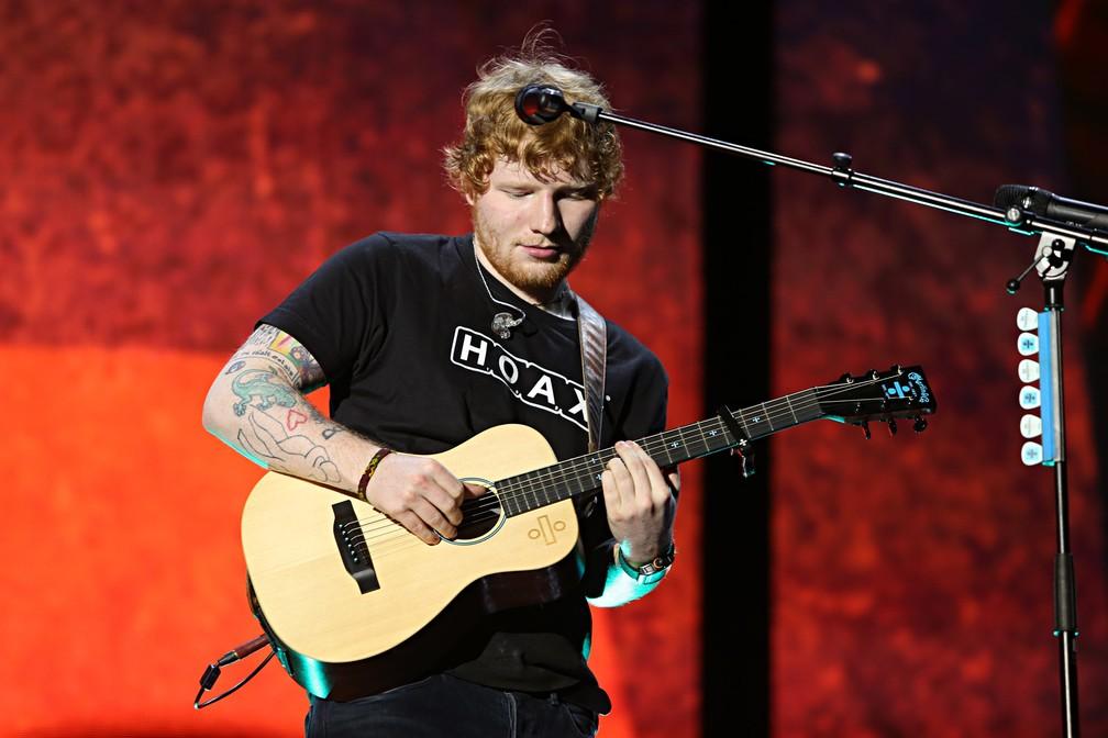 Ed Sheeran toca no Allianz Parque, em São Paulo, em 2017 — Foto:  Celso Tavares/G1