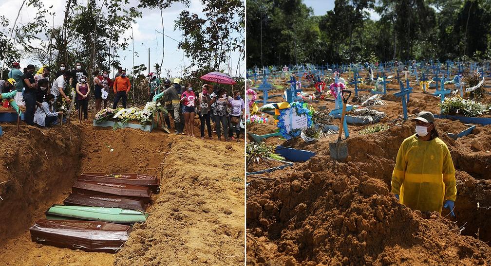Cemitérios de Manaus em diferentes momentos de alta nas mortes por Covid-19 — Foto: Edmar Barros_AFP; Bruno Kelly/Reuters