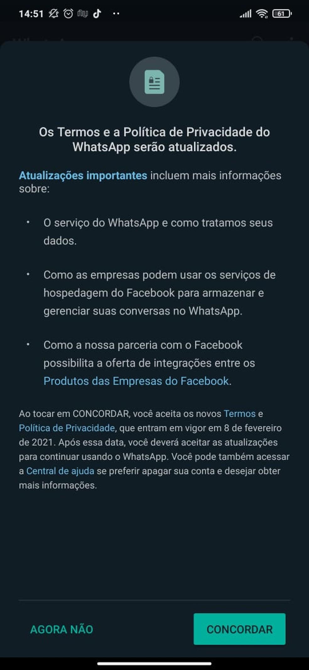 Notificação com informações sobre os novos termos e políticas de privacidade do WhatsApp. — Foto: Reprodução/Arquivo pessoal