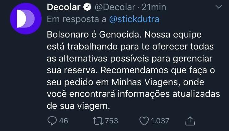 Publicação automática da Decolar com crítica a Bolsonaro