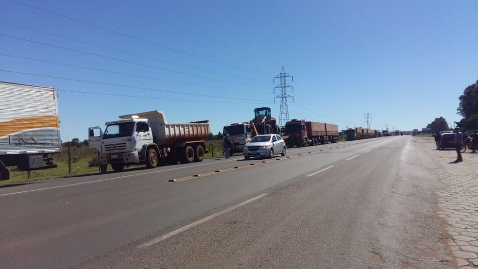 Caminhoneiros fazem protesto em rodovia de MS contra aumento do diesel (Foto: Wando Luiz/Arquivo Pessoal)