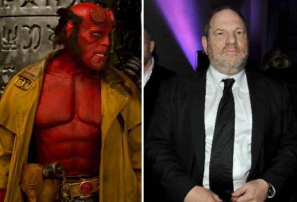 O ator Ron Perlman como o herói Hellboy e o produtor Harvey Weinstein (Foto: Instagram/Getty Images)