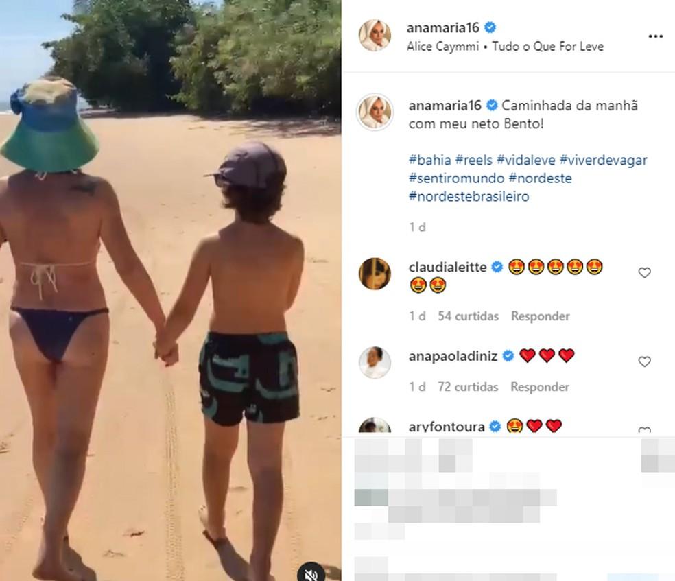 Postagem de Ana Maria Braga durante caminhada com o neto em praia da Bahia — Foto: Reprodução/Redes Sociais
