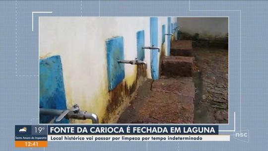 Fonte histórica de Laguna é fechada para manutenção