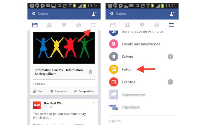 Acessando a página de fotos do Facebook com o aplicativo para Android (Foto: Reprodução/Marvin Costa)