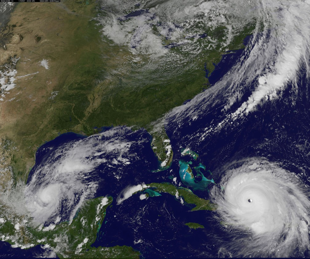 Imagem de satélite mostra o furacão Irma no Oceano Atlântico (Foto: Courtesy NASA via REUTERS)