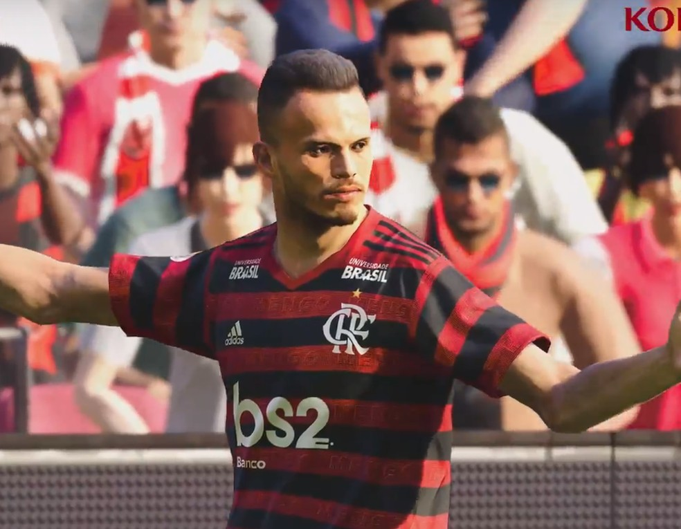 Renê, lateral do Fla, é um dos jogadores idênticos à vida real no PES 2020 — Foto: Reprodução