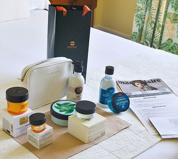 Opa, mais um mimo: a The Body Shop ofereceu um kit com produtos da marca para as participantes do Summit