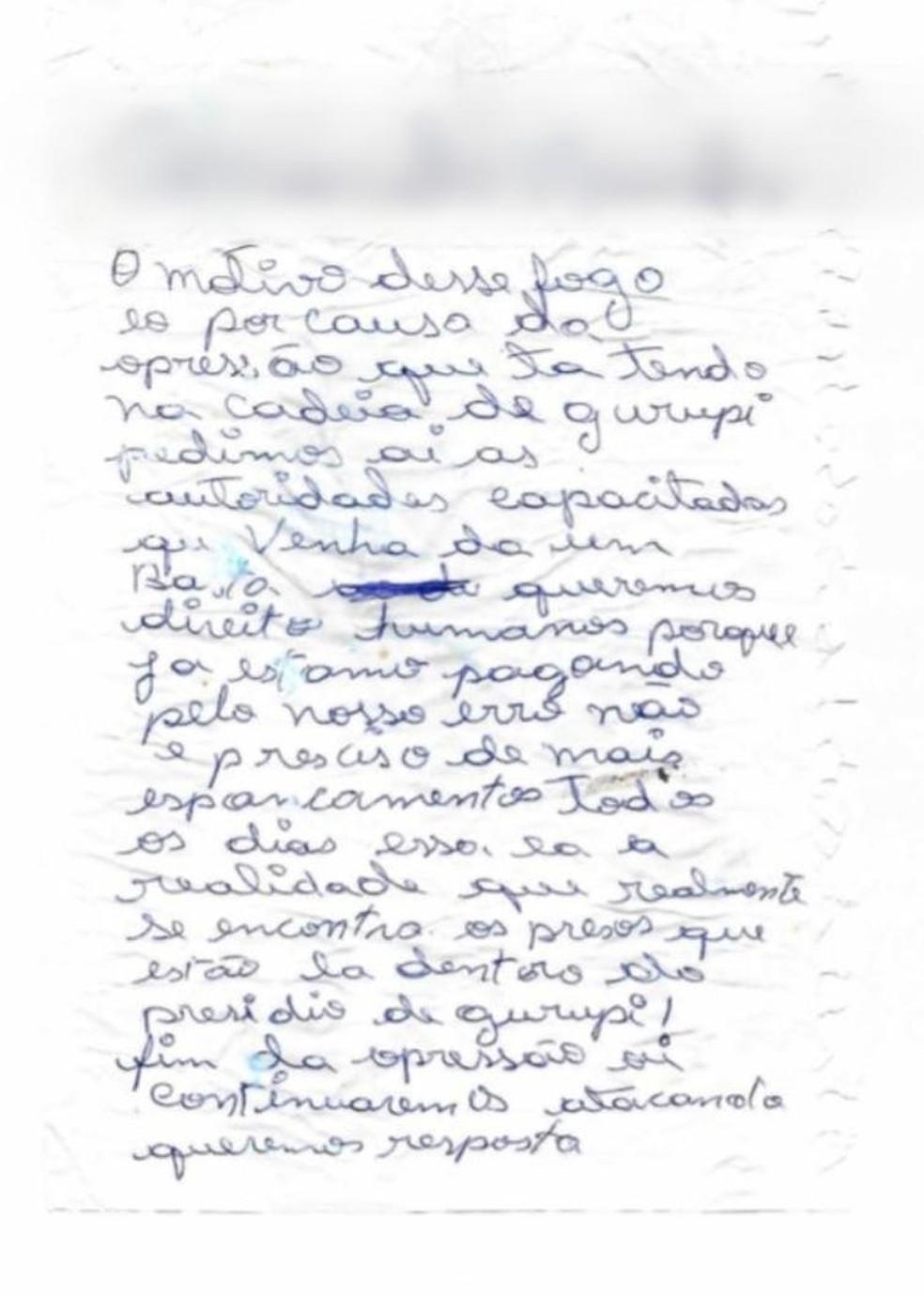 Carta com ameaça de novos ataques foi deixada no local do crime — Foto: Divulgação