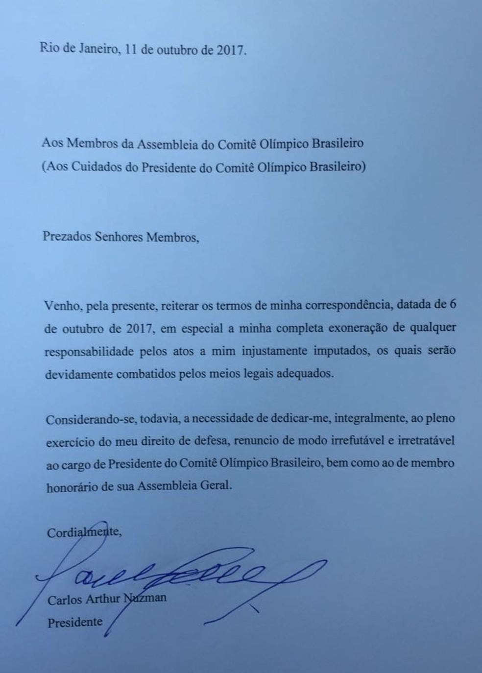 Carta da renúncia de Nuzman à presidência do COB  (Foto: Reprodução)