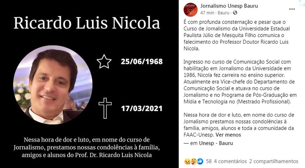 Curso de jornalismo da Unesp em Bauru emitiu nota de luto após morte do professor Ricardo Nicola — Foto: Facebook/Reprodução