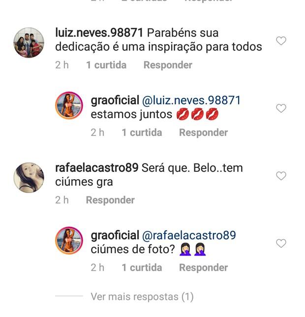 Gracyanne responde comentários (Foto: Reprodução)