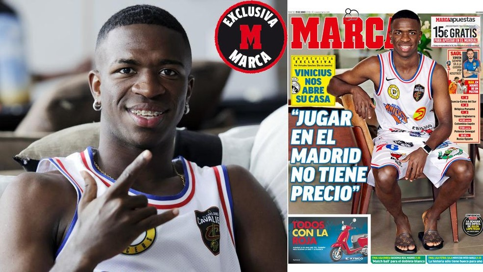 """Vinicius Junior é capa desta terça-feira do diário """"Marca"""" (Foto: Reprodução / Marca)"""