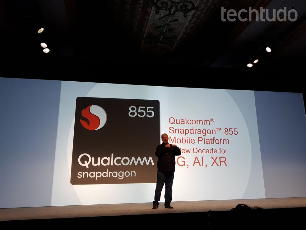 Keith Kressin, vice presidente sênior da Qualcomm, apresenta o Snapdragon 855 — Foto: Aline Batista/TechTudo