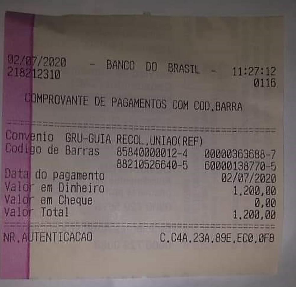Prefeito divulgou comprovante de depósito de devolução do auxílio emergencial — Foto: Arquivo pessoal