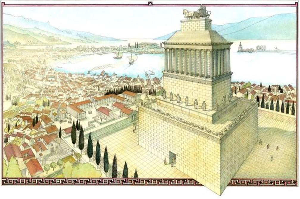 Tamanho era o esplendor do túmulo de Mausolo que a palavra 'mausoléu' deriva de seu nome — Foto: Getty Images via BBC