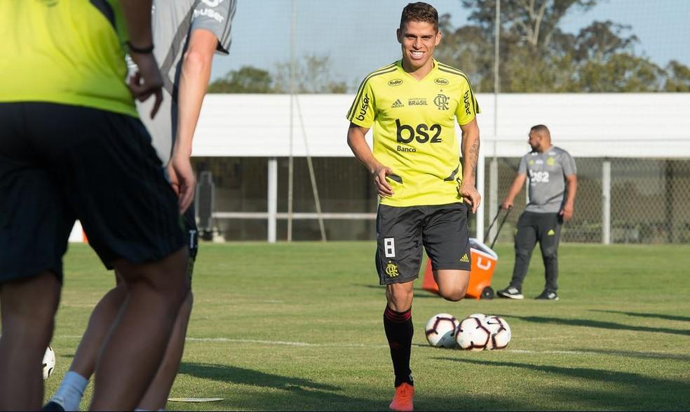 Setor de Cuéllar, meio de campo é a principal dúvida de Jorge Jesus — Foto: Alexandre Vidal / Flamengo