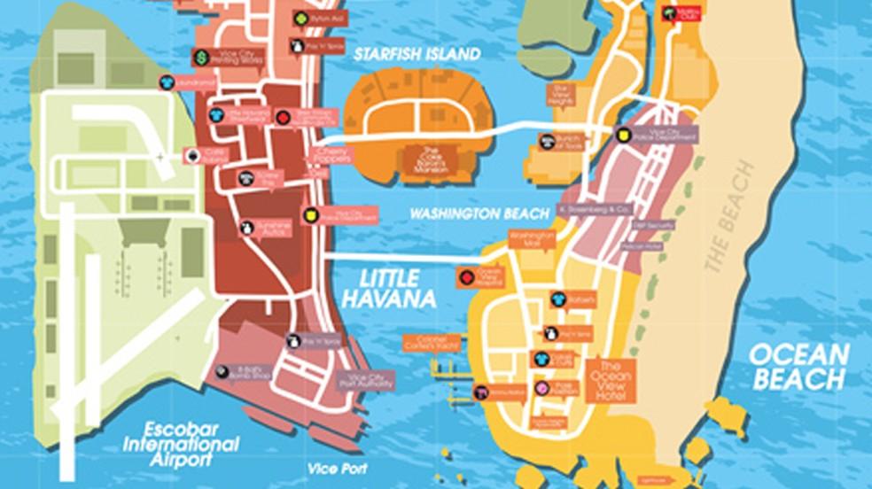 Rumores de GTA 6 sugerem várias localidades para o game, inclusive a cidade de Vice City — Foto: Divulgação/Rockstar