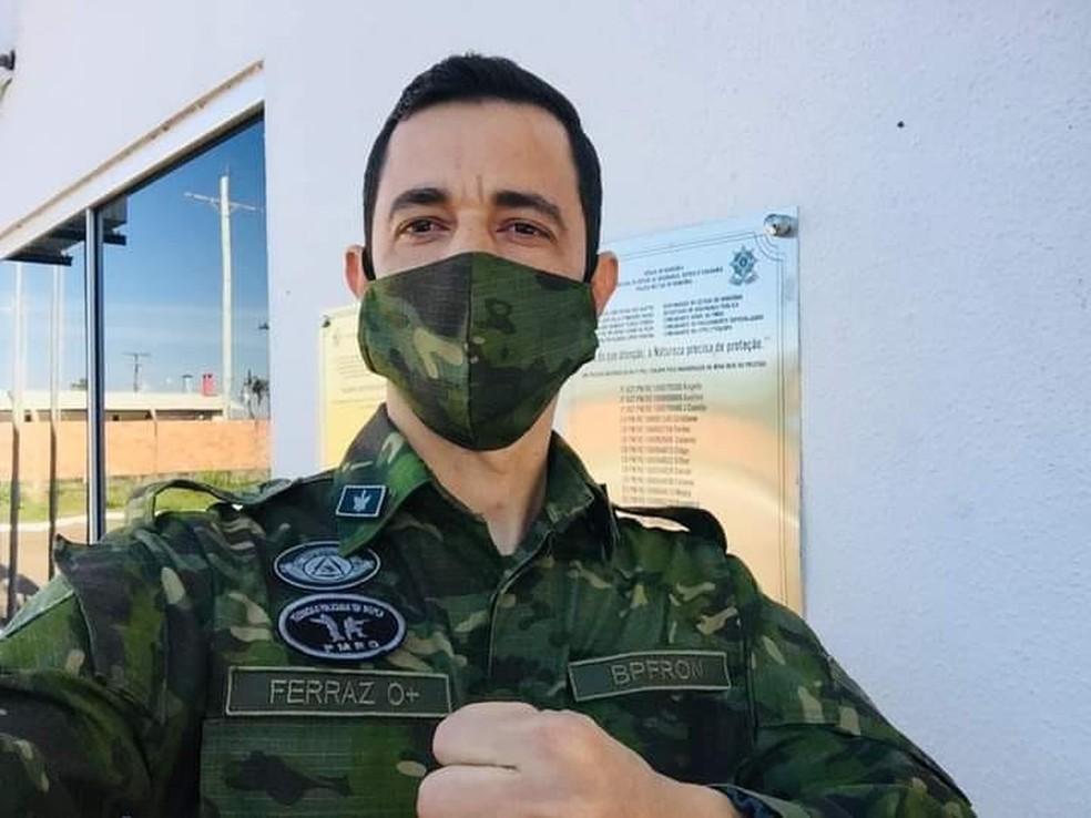 Tenente da PM Fredson Amorim Ferraz segue internado em Porto Velho — Foto: Facebook/Reprodução