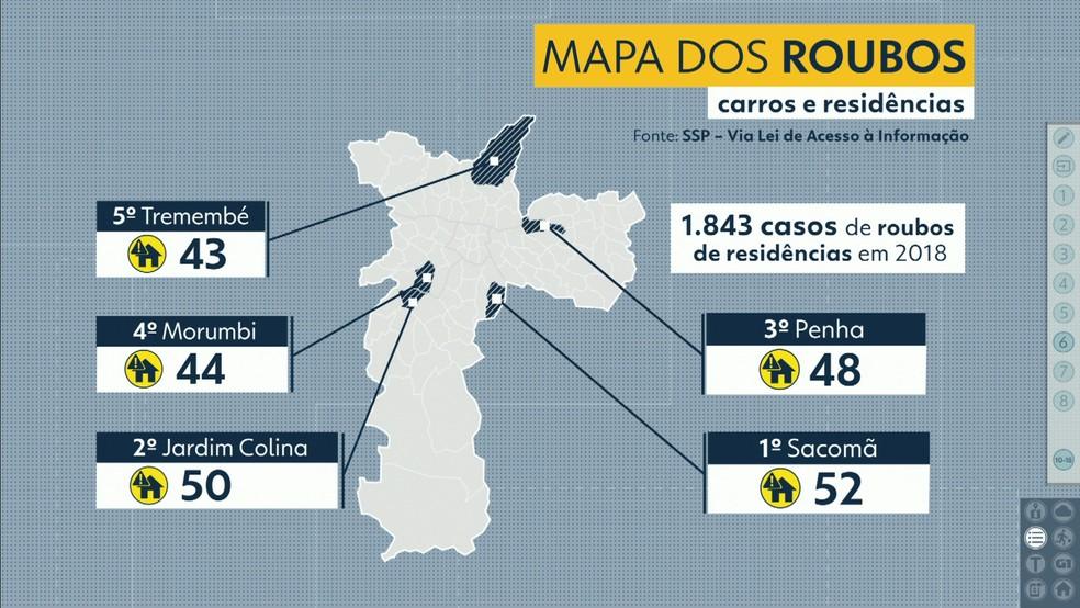Mapa mostra casos de roubos de casas na cidade de São Paulo — Foto: TV Globo/Reprodução