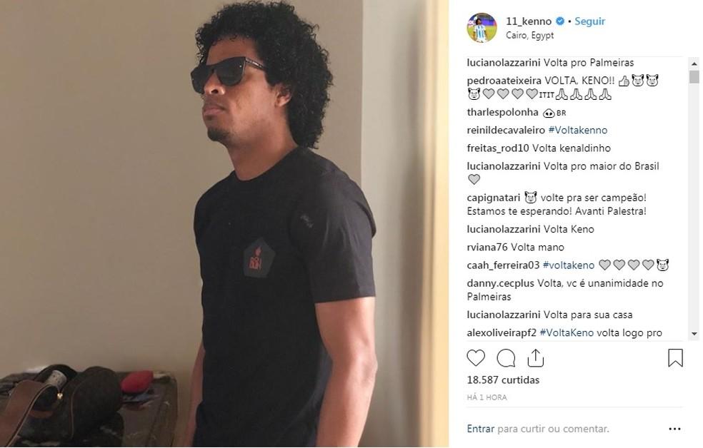 Keno marcou 19 gols em 84 partidas com a camisa do Palmeiras ? Foto: Reprodução / Instagram