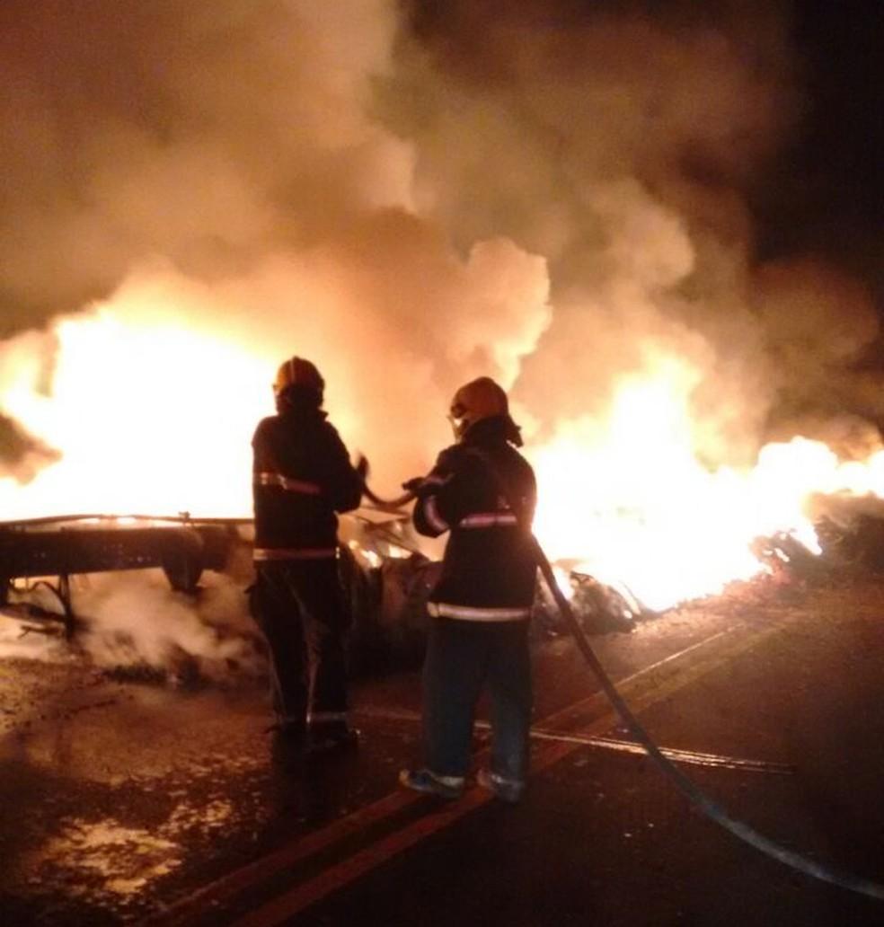 Bombeiros controlam as chamas na BR-153 (Foto: Divulgação/Bombeiros)