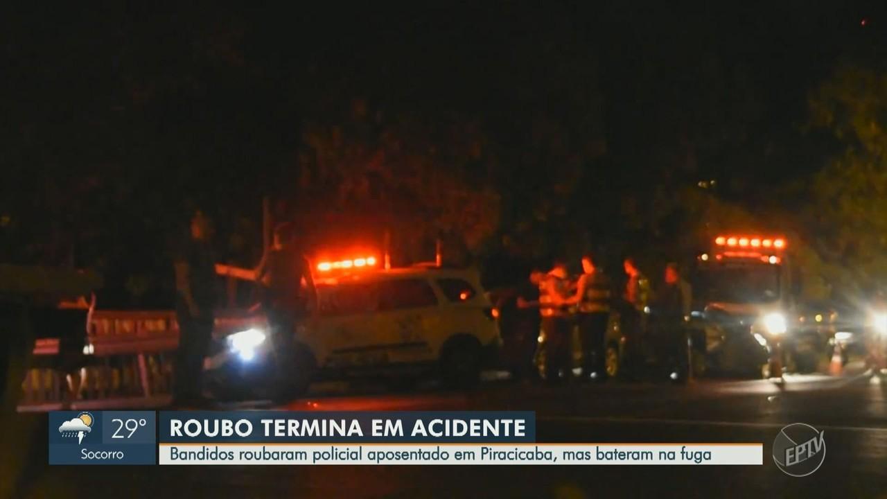 Bandidos assaltam policial aposentado e se envolvem em acidente em Piracicaba