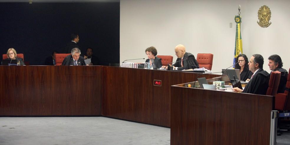 Ministros da Primeira Turma do STF durante a sessão desta terça-feira (20) — Foto: Nelson Jr./SCO/STF