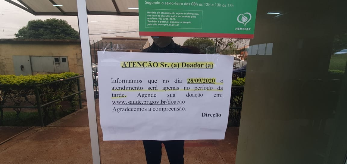 Hemocentro suspende coleta de sangue por algumas horas após falta de profissionais, em Cascavel