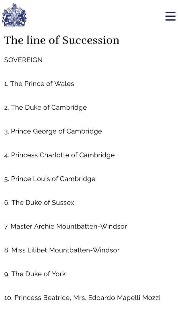 Linha de Sucessão ao trono real britânico (Foto: Reprodução / Site Oficial da Realeza Britânica)