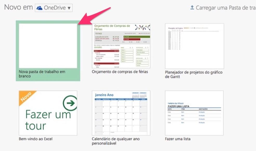 Ação para abrir um documento em branco no Excel online para criar uma pesquisa — Foto: Reprodução/Marvin Costa