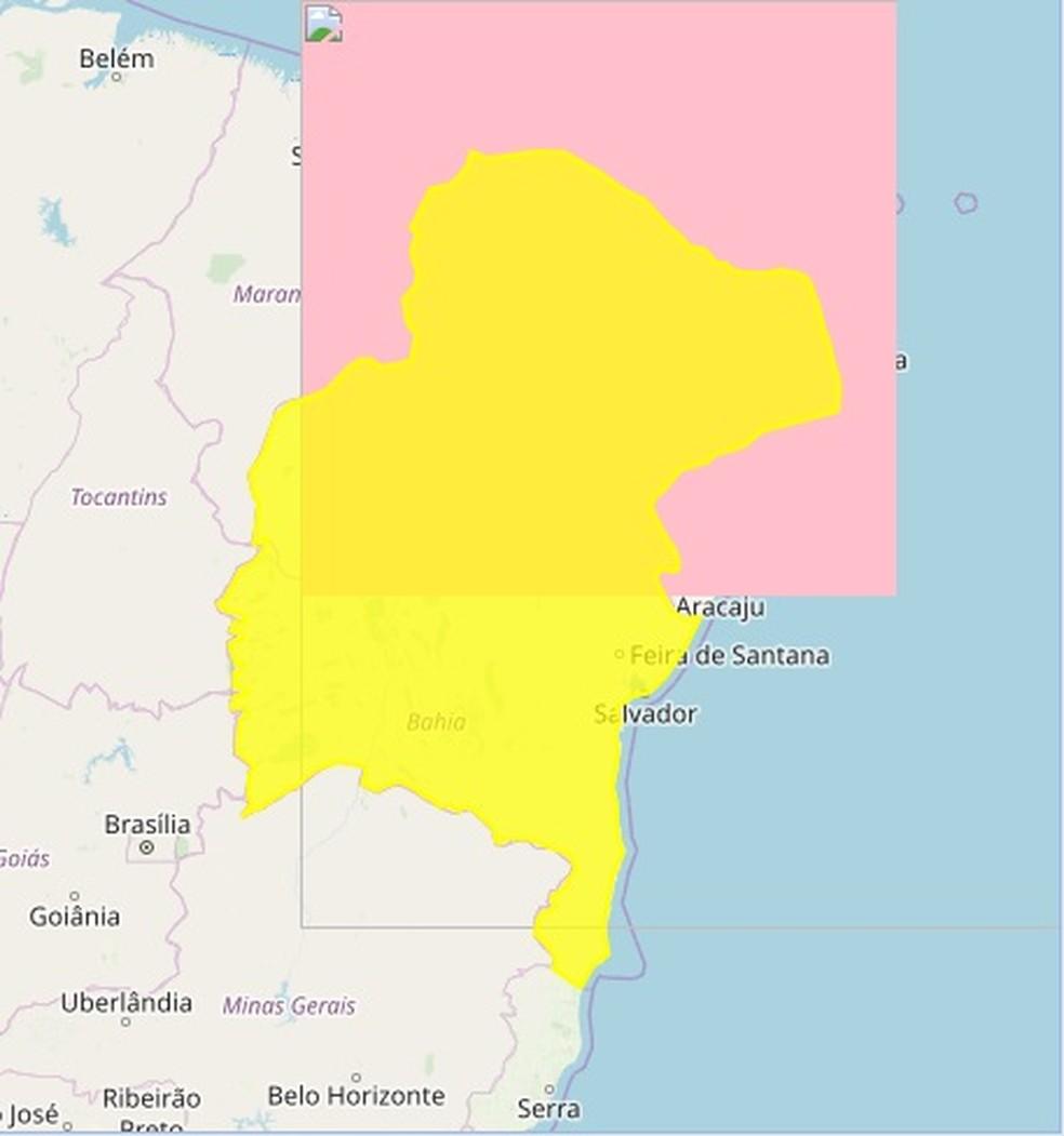 """Alerta amarelo do Inmet com """"perigo potencial"""" é válido para todas as cidades do Rio Grande do Norte — Foto: Reprodução/Inmet"""