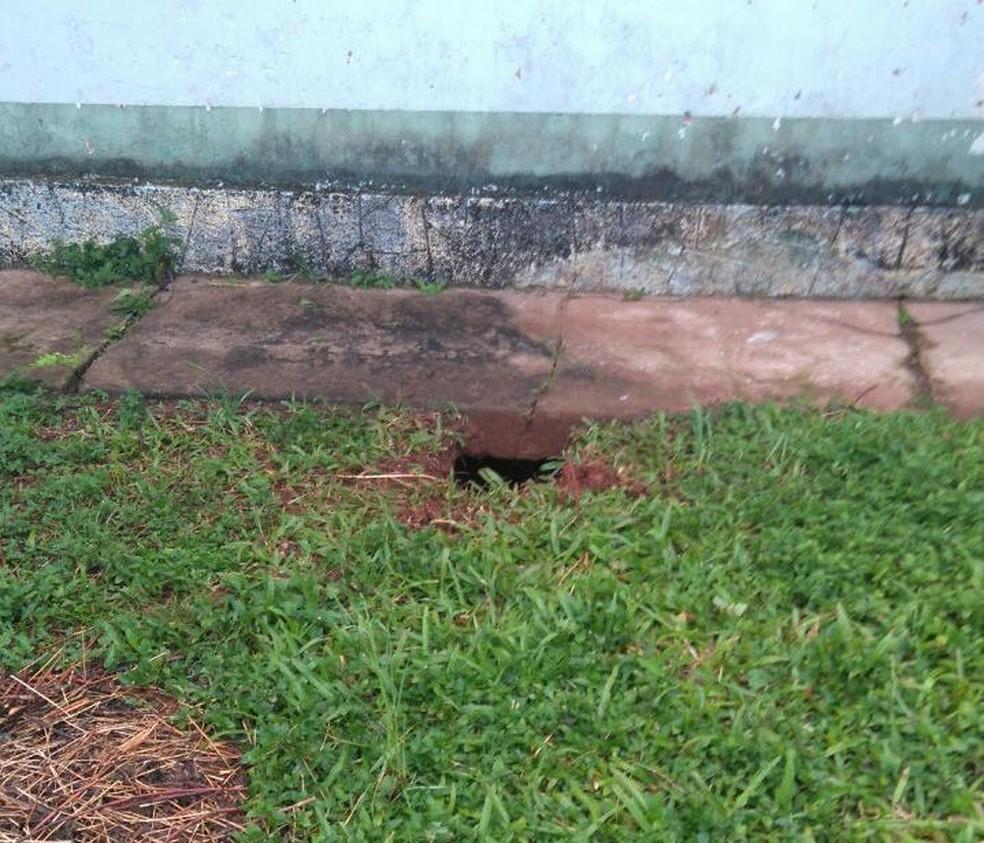 Túnel cavado por presos deu acesso ao pátio (Foto: Divulgação/Susepe)