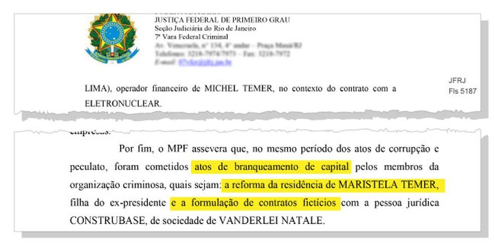 Trecho do inquérito com pedido de prisão de Michel Temer que cita Maristela, uma das filhas do ex-presidente — Foto: Reprodução