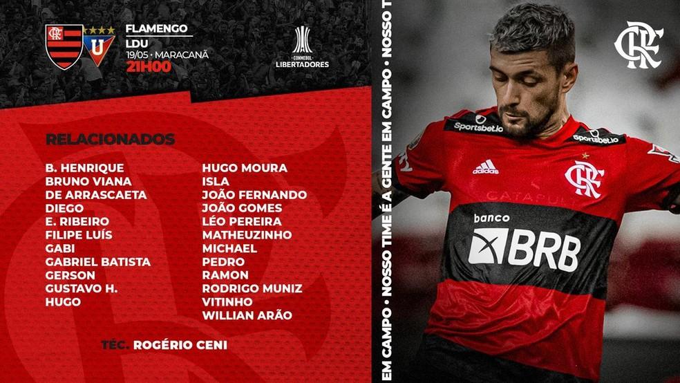Os relacionados do Flamengo para encarar a LDU — Foto: Reprodução