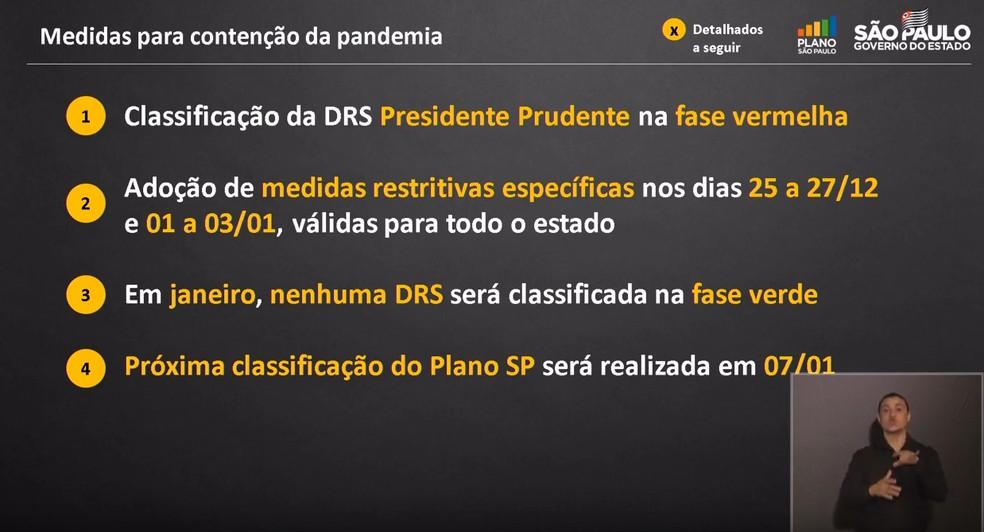 Medidas para a contenção da pandemia em SP — Foto: Reprodução/Youtube