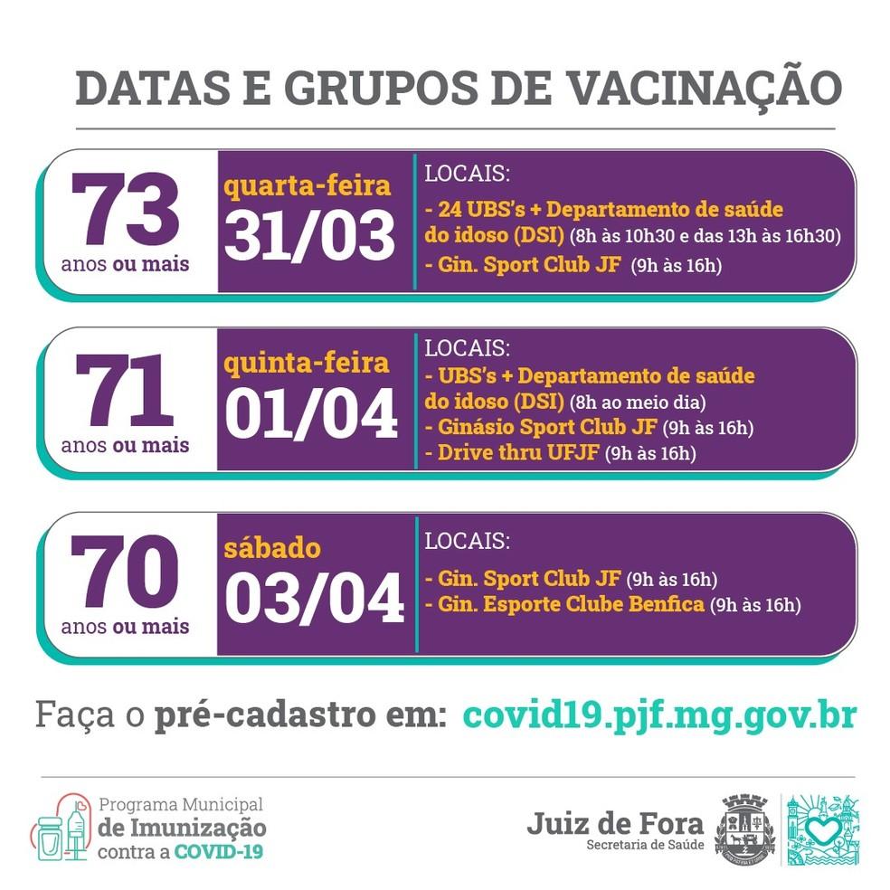 Calendário de vacinação em Juiz de Fora — Foto: Prefeitura/Divulgação