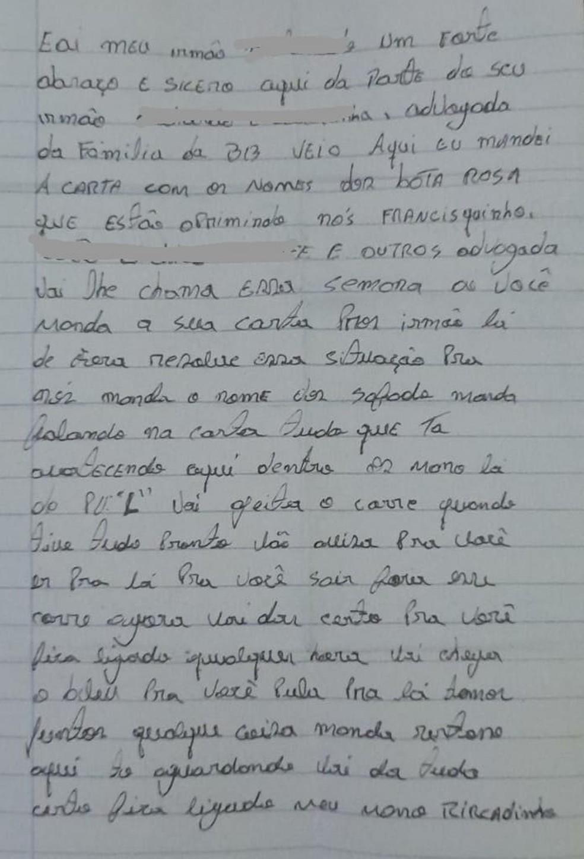Carta foi encontrada em cela na última semana — Foto: Reprodução