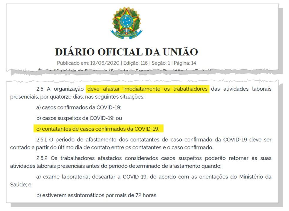 Portaria do governo orienta que trabalhadores que tiverem contato com pessoas infectadas pelo coronavírus fiquem de quarentena — Foto: Reprodução