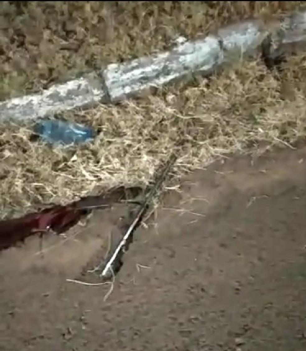 Espingarda que teria sido usada no crime foi apreendida pela PM — Foto: Polícia Militar