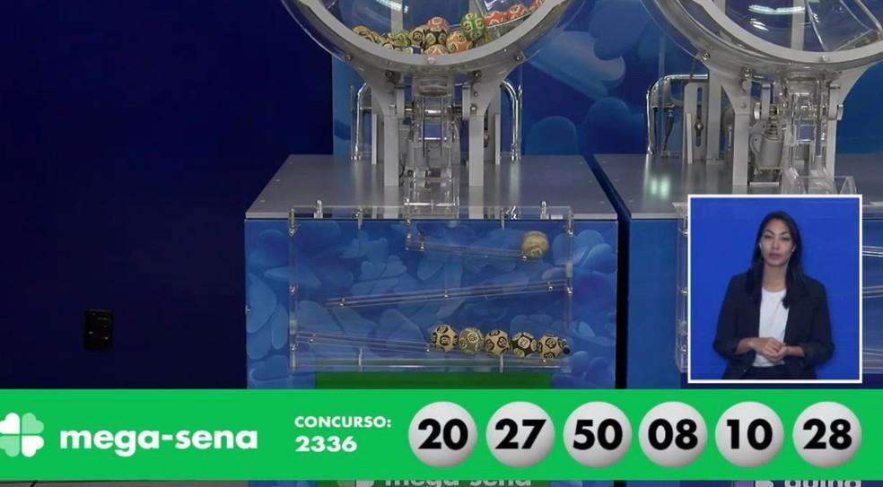Números sorteados no concurso 2336 da Mega-Sena — Foto: Reprodução/Caixa