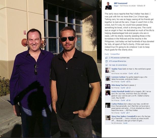 Paul Walker posa com fã (Foto: Reprodução/Facebook)