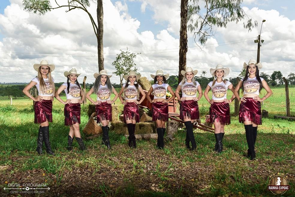 Jovens que disputam título de rainha da 20ª Expoac em Cacoal.  (Foto: Reprodução)