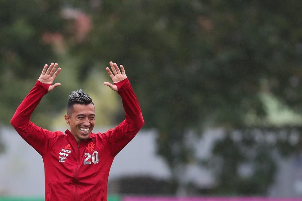 """Carinhosamente chamado de """"gringo"""", Uribe já está entrosado com o grupo do Flamengo (Foto: Gilvan de Souza)"""
