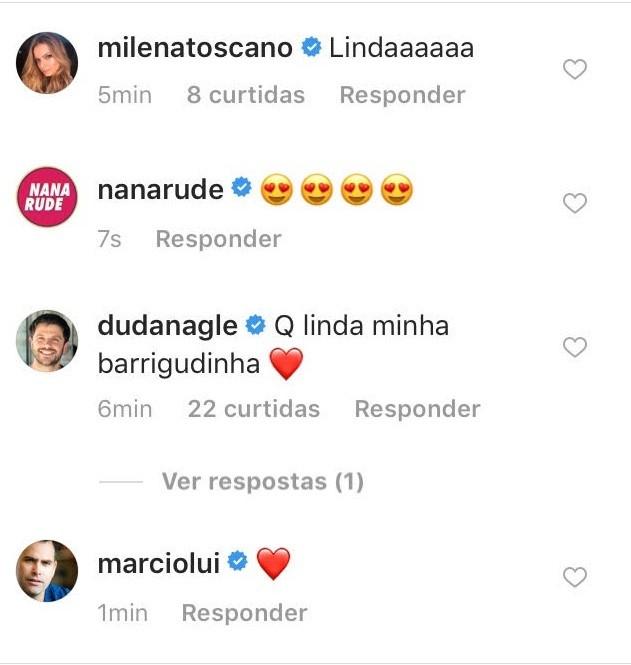 Comentário de Duda Nagle (Foto: reprodução/instagram)
